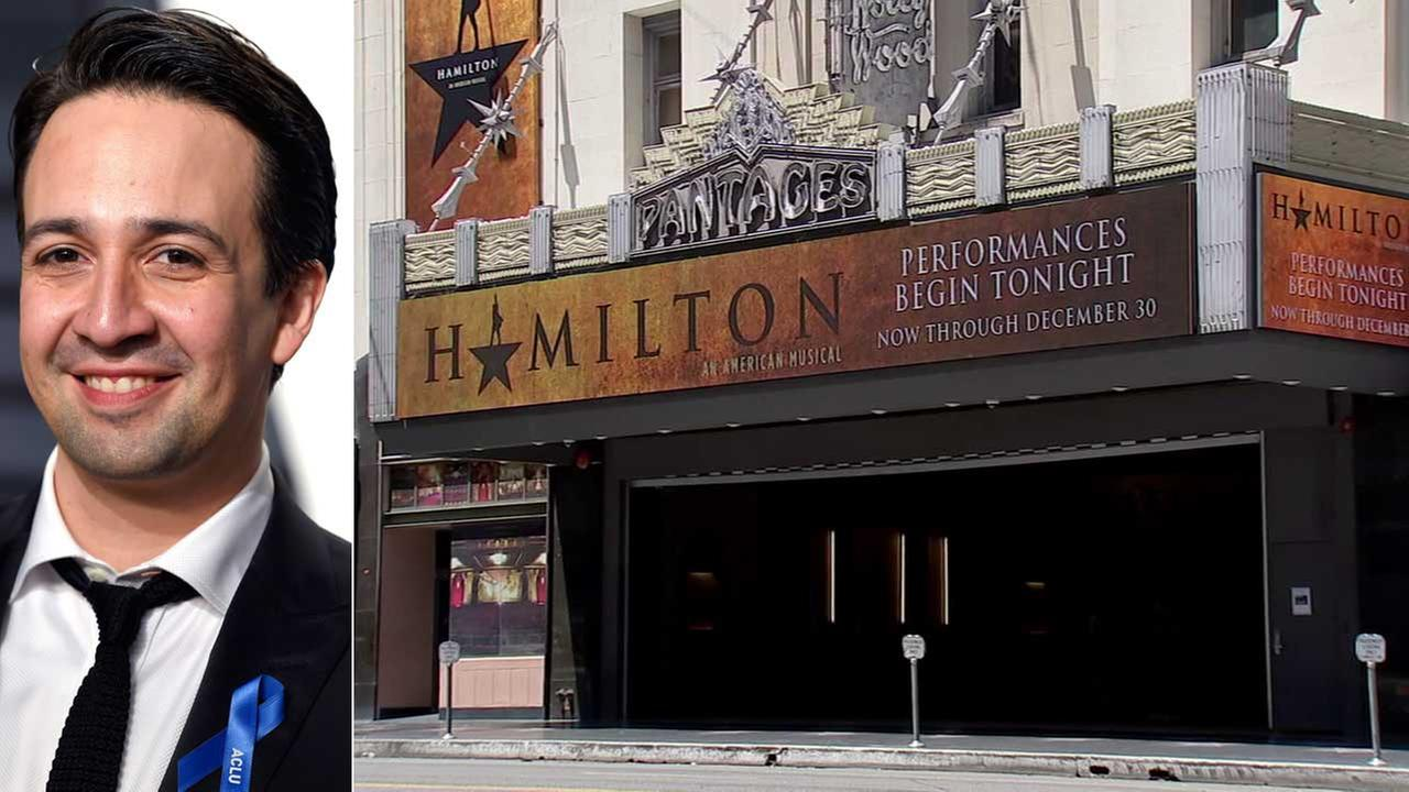 (Left) Lin-Manuel Miranda is seen in a file photo. (Right) A sign for the musical Hamilton is seen.