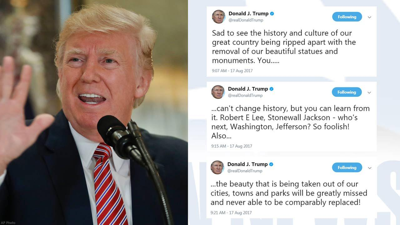 President Donald Trump tweeted Thursday, Aug. 17, 2017, that he is siding with folks who want to preserve Confederate monuments across the U.S.
