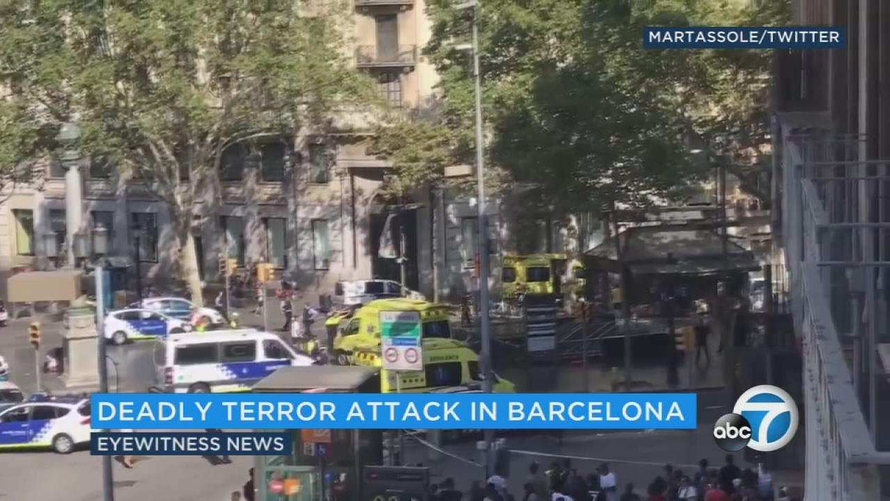 Footage shows the scene of a deadly terror attack in Barcelona on Thursday, Aug. 17, 2017.