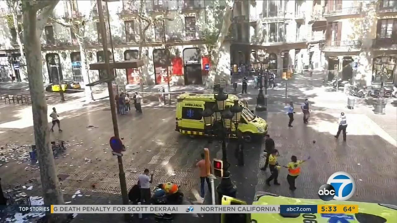 The scene of a terror attack in Barcelona, where 13 people were killed after a van plowed into a crowd on Thursday, Aug. 17, 2017.