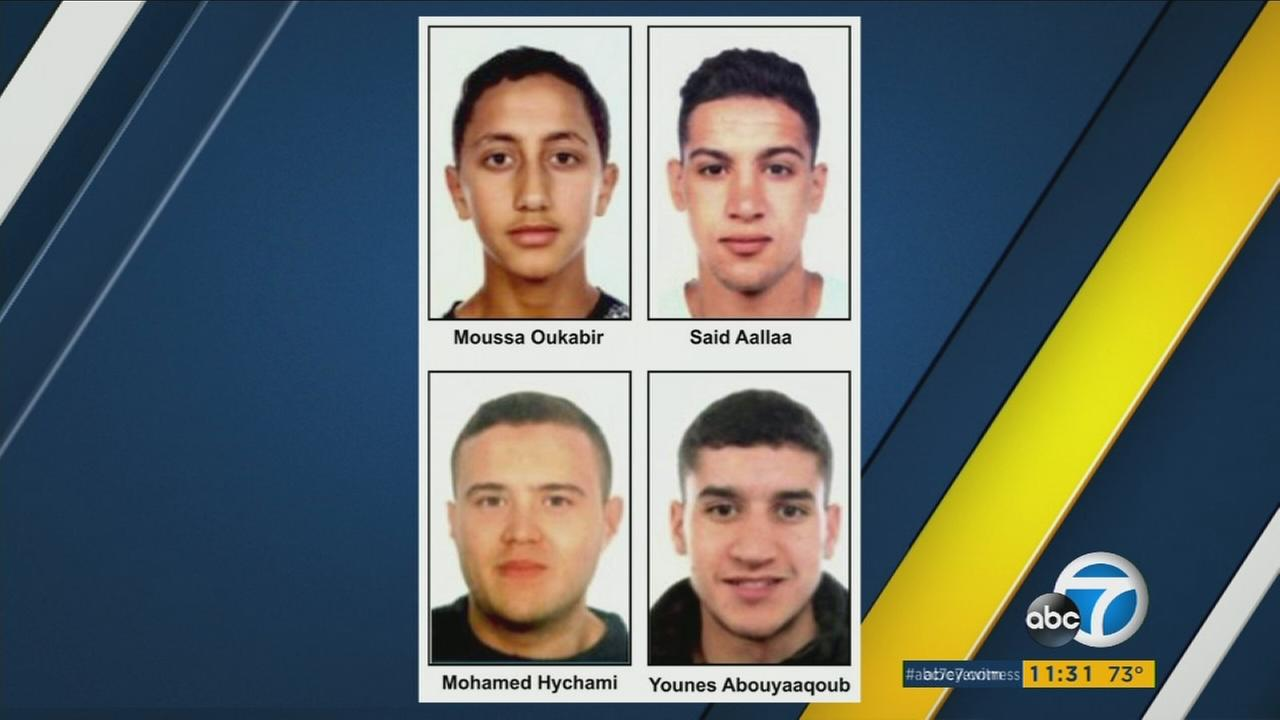 A photo shows four suspects believed to be involved in the Spain terror attacks.