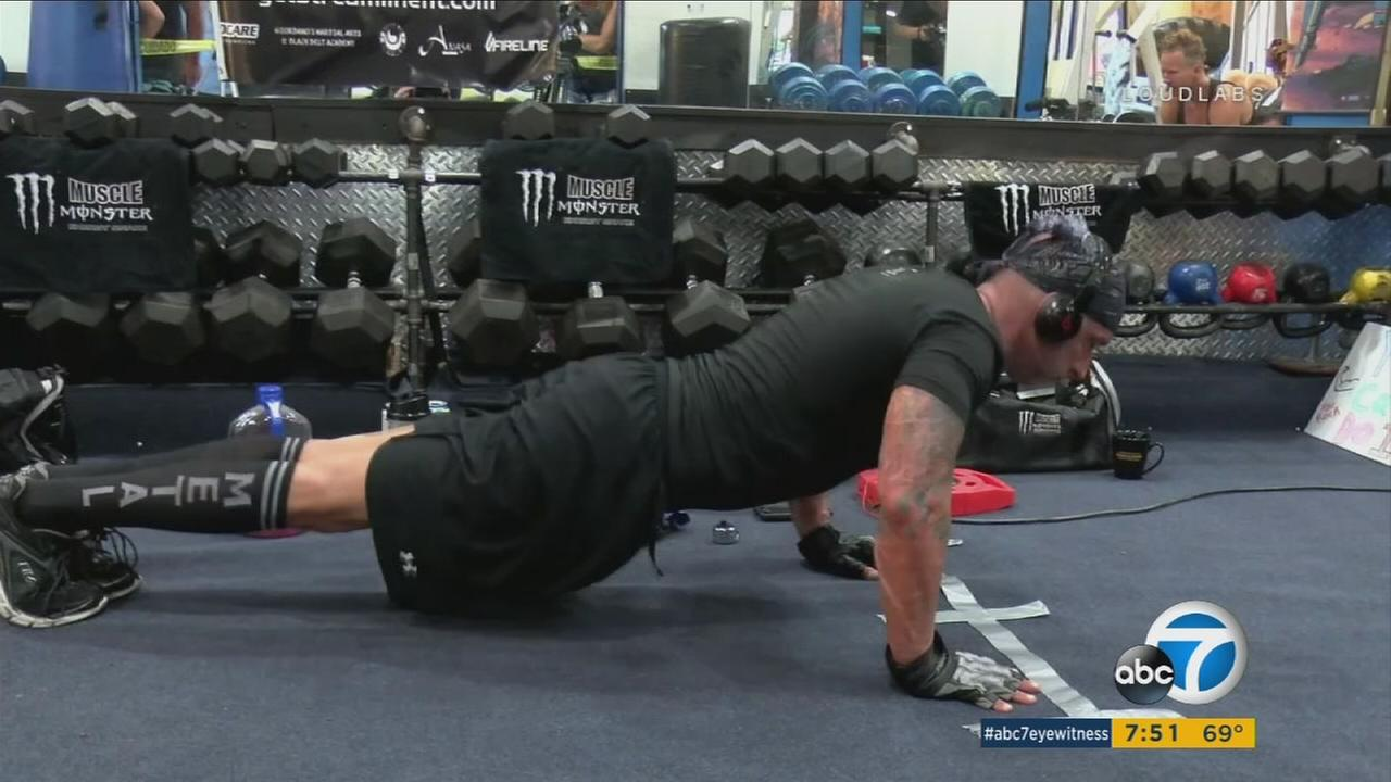 Jeff Myers, an Inland Empire man trying to break a world record of 50,000 push-ups in 24 hours to raise money for homeless veterans.