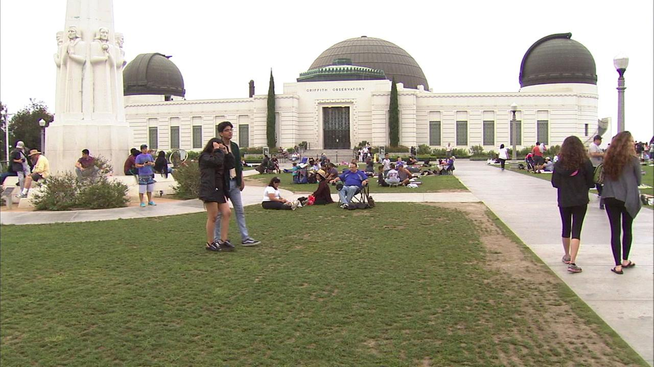 Southern Californians flock to the Griffith Observatory to view the solar eclipse on Monday, Aug. 21, 2017.
