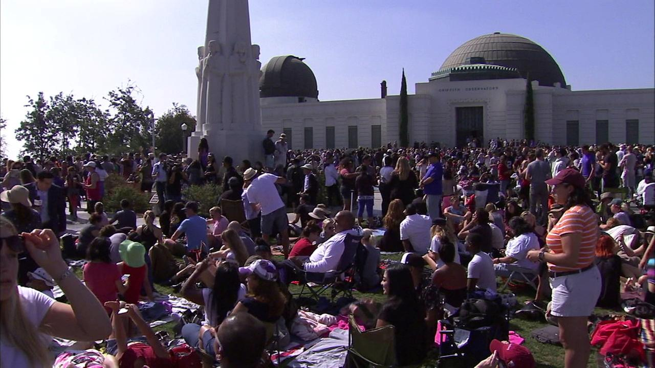 Thousands of people at Griffith Park watch the Great American Eclipse on Monday, Aug. 21, 2017.