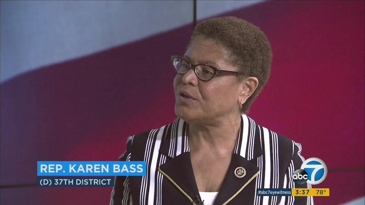 Rep. Karen Bass of Los Angeles joined ABC7s Elex Michaelson for an in-studio interview on Monday, Aug. 21, 2017.