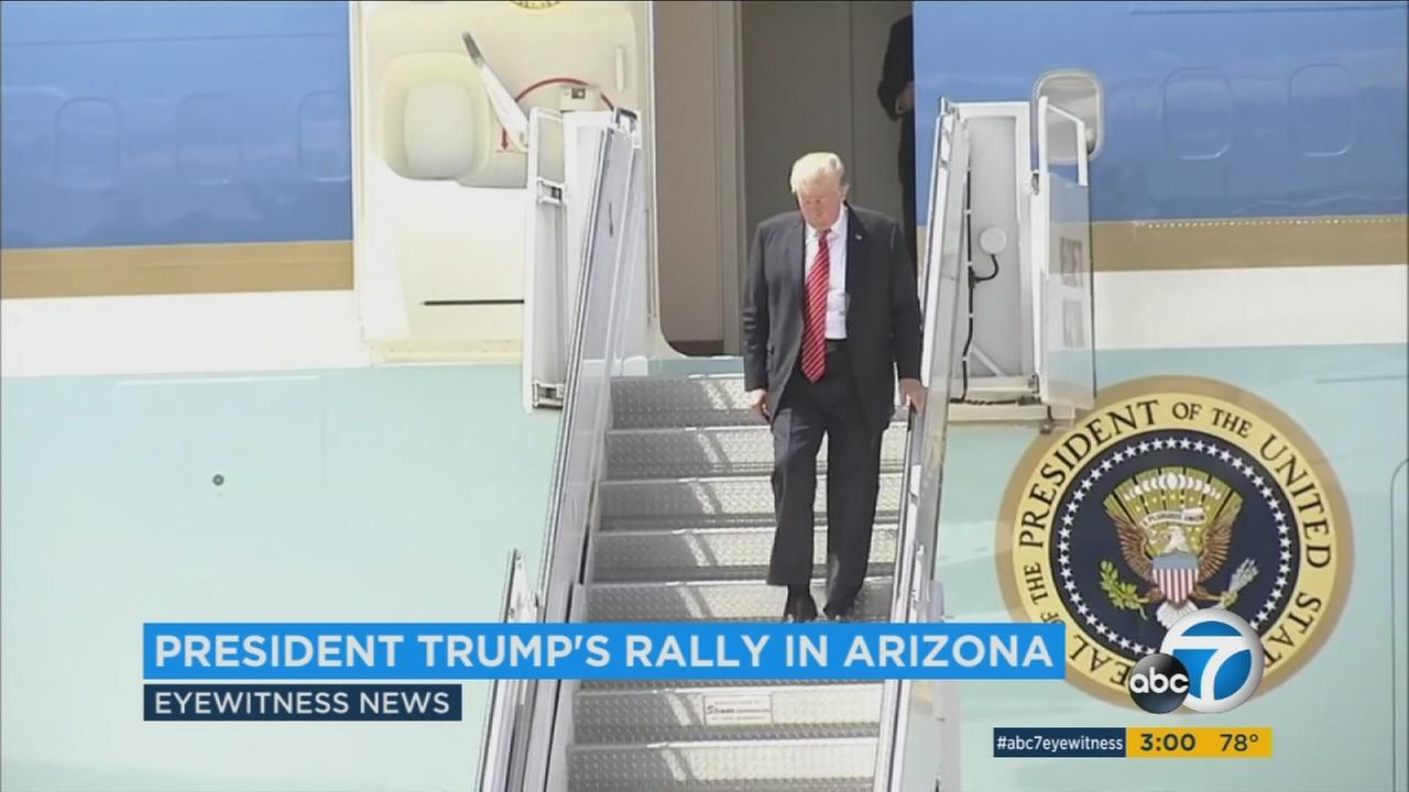 President Donald Trump arrives in Yuma, Arizona and deplanes from Air Force One on Tuesday, Aug. 22, 2017.