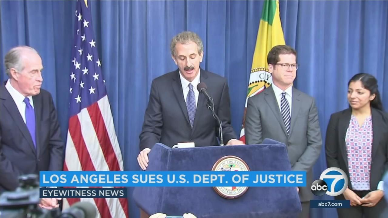 Los Angeles City Attorney Mike Feuer filed a lawsuit Tuesday against the Department of Justice, claiming that the Trump administration is unconstitutionally imposing its will on cities that dont comply with new immigrant reporting requirements.