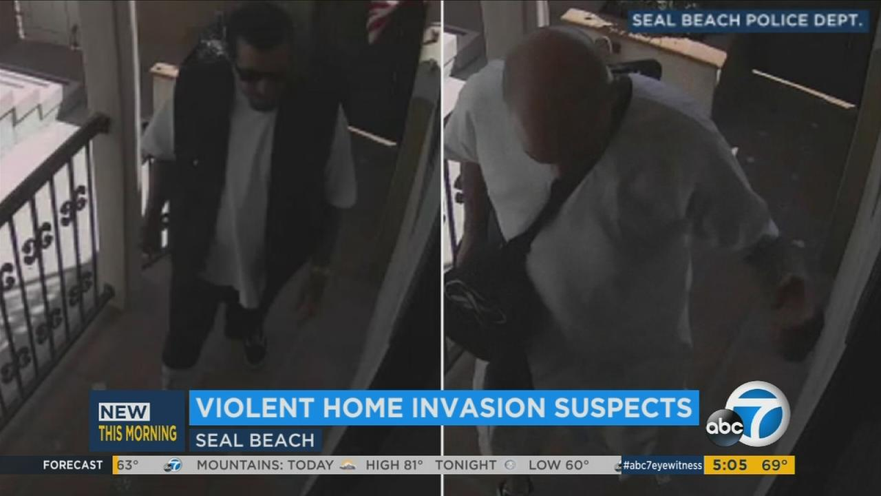 Home-invasion robbery suspects are shown in surveillance video at a Seal Beach home on Wednesday, Aug. 23, 2017.