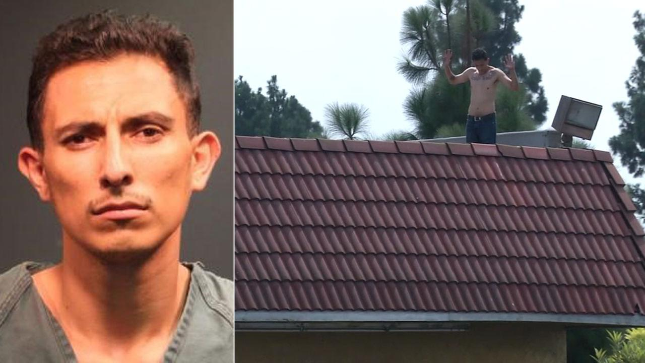 Porfirio Andalco is shown in a mugshot alongside an image of him on the roof of a Santa Ana laundromat on Wednesday, Aug. 23, 2017.