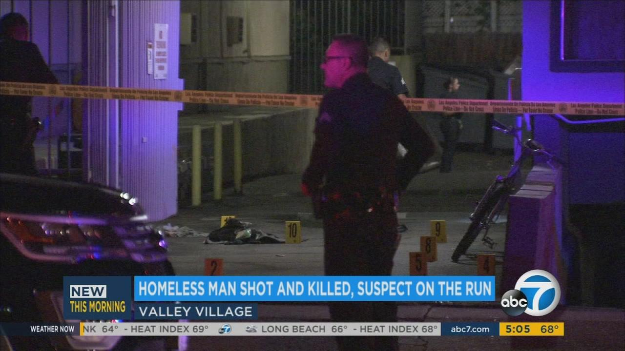 Homicide detectives are searching for a suspect who shot a 30-year-old man on Burbank Boulevard Wednesday after the victim succumbed to his injuries at a local hospital.