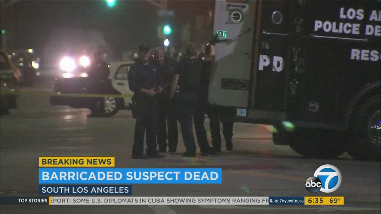 A man was found dead of a self-inflicted gunshot wound Thursday, Aug. 24, 2017, after an hourslong standoff with an LAPD SWAT team at an apartment in South Los Angeles, authorities said.