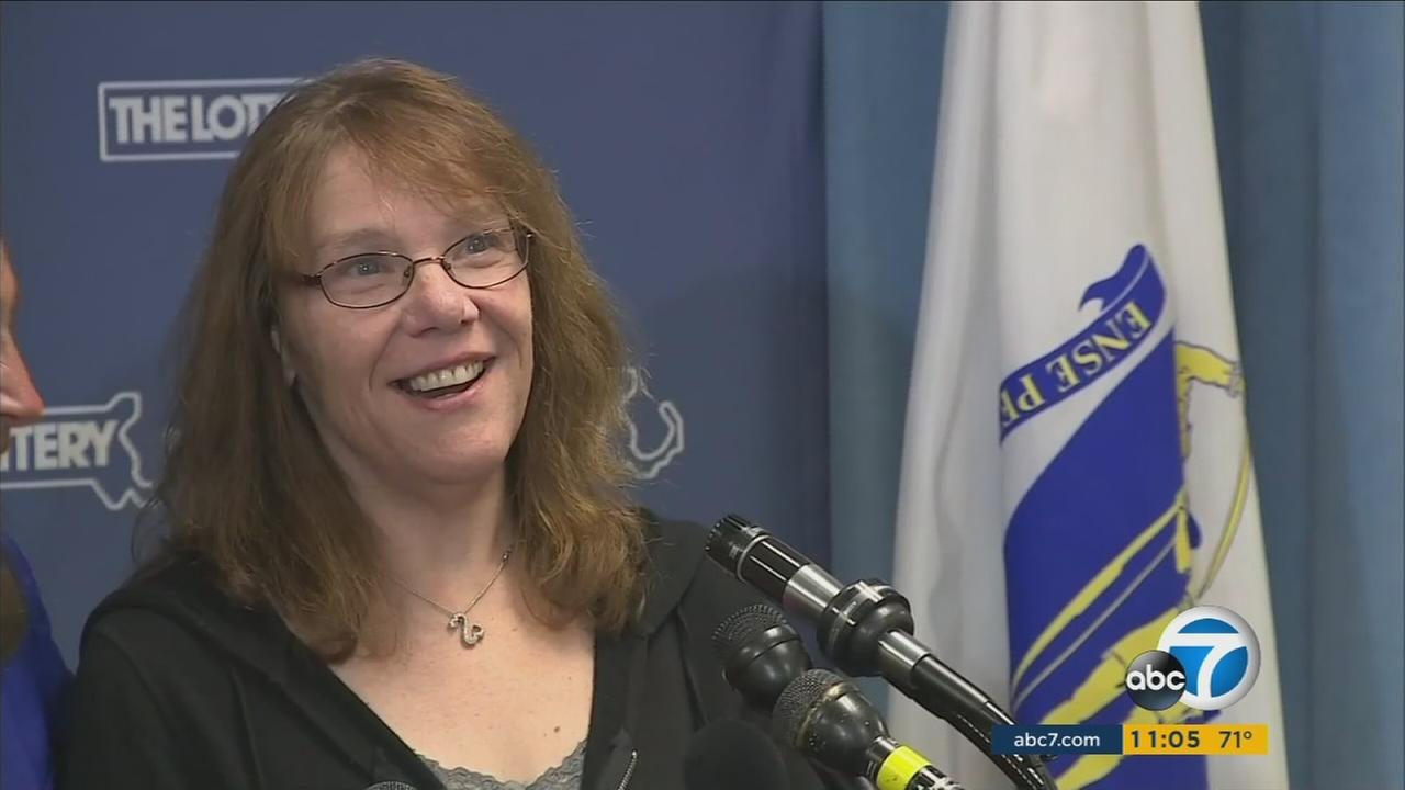 A curious public got a first glimpse of the woman Massachusetts lottery officials say won the largest single-ticket Powerball prize in U.S. history.