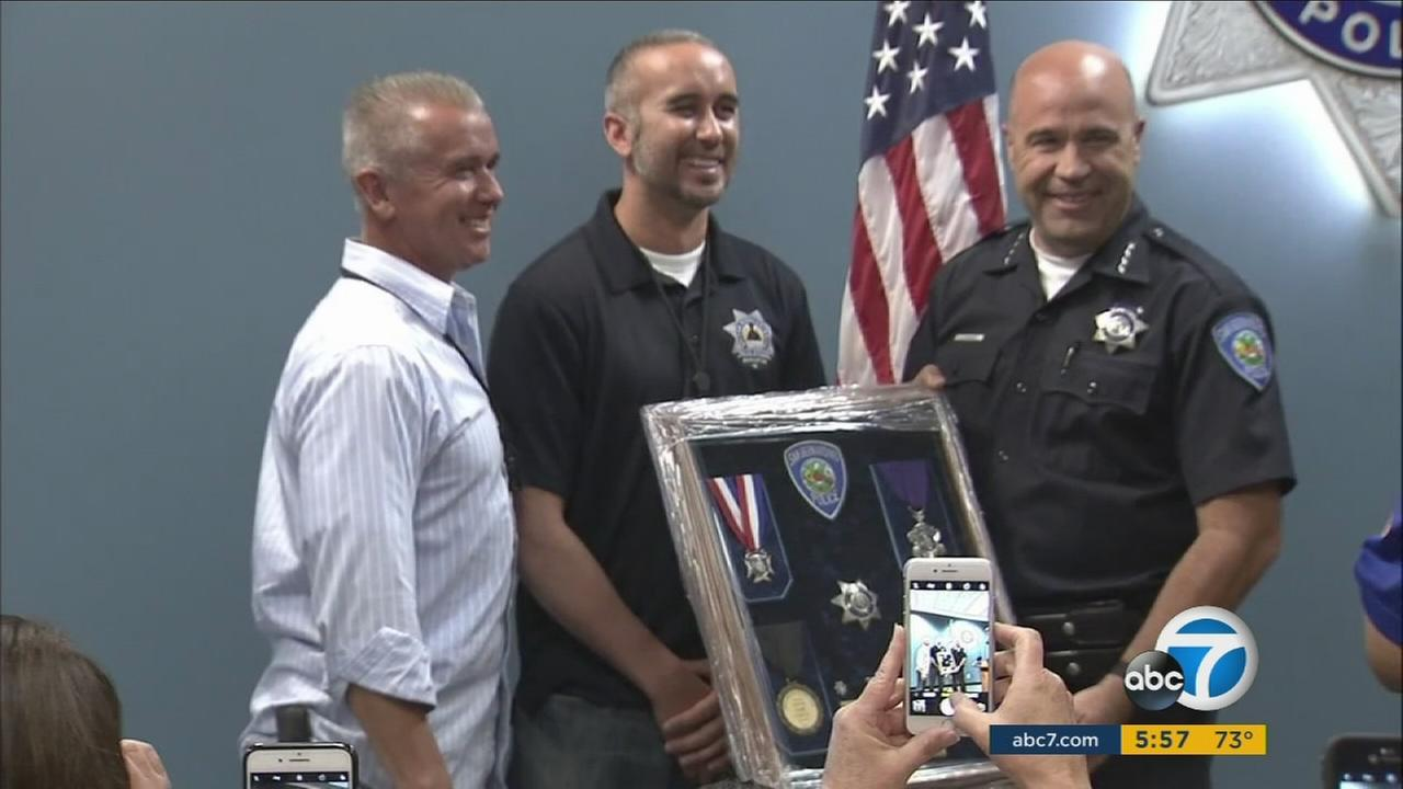 Gabriel Garcia, 34, retires from the San Bernardino Police Department on Thursday, Aug. 24, 2017, three years after being shot in the head.