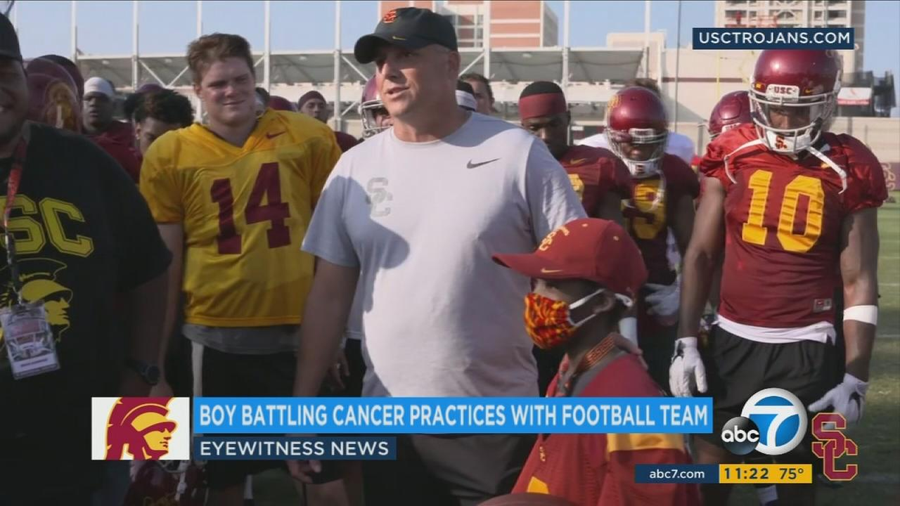 Taylor Hammond, 10, is shown during his practice with USC Trojans.