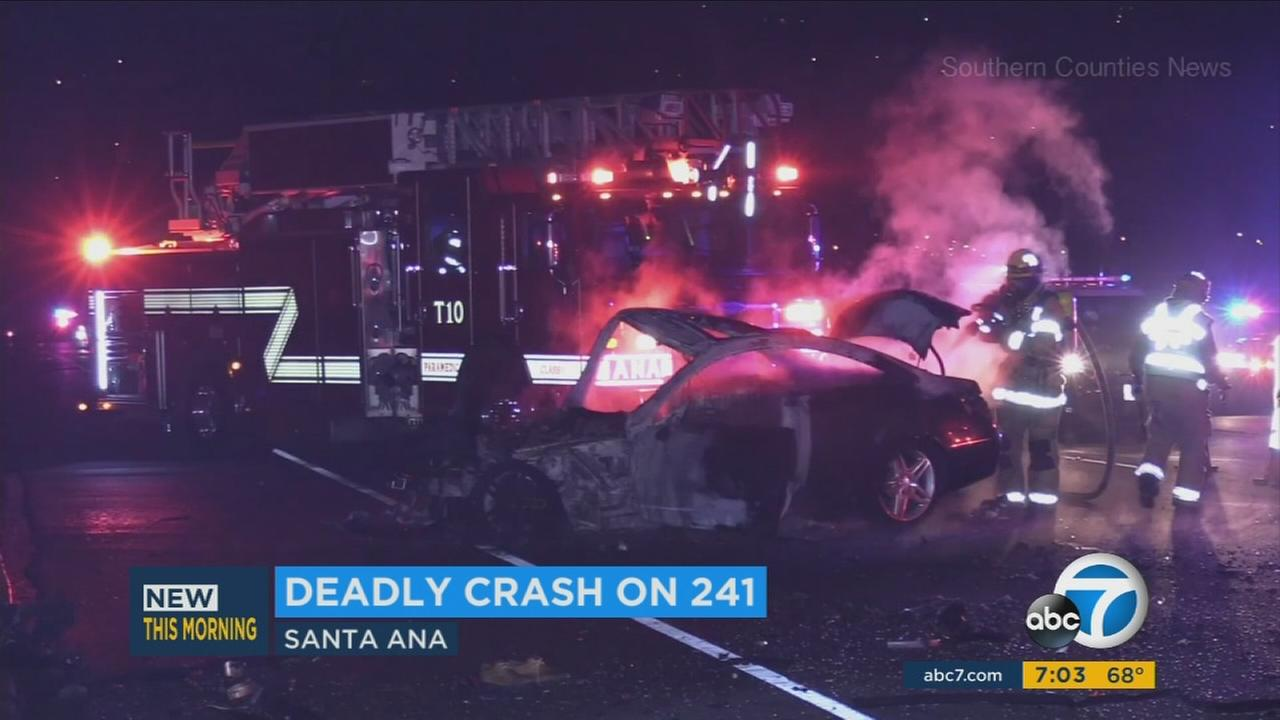 A possible wrong-way driver caused a deadly and fiery crash in Anaheim Hills early Sunday morning.