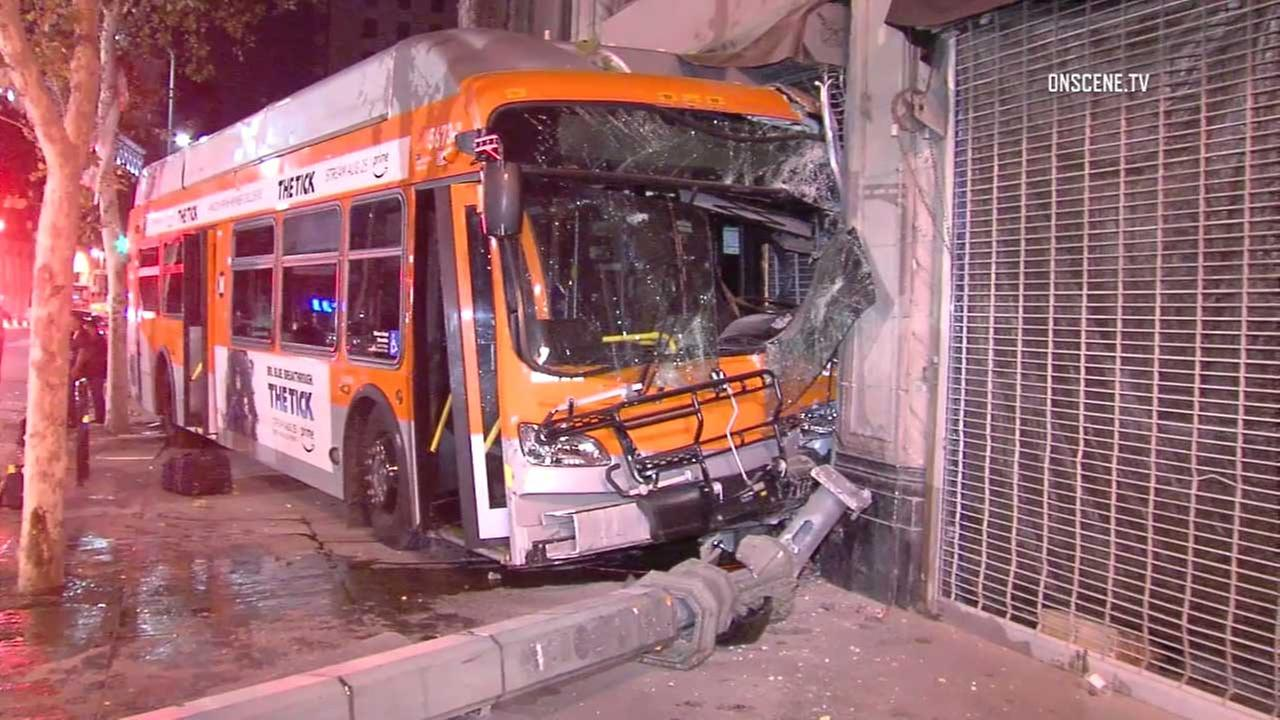 A Metro bus is seen after it crashed into an SUV, veered onto a sidewalk, then slammed into a building in downtown Los Angeles on Wednesday, Aug. 30, 2017.