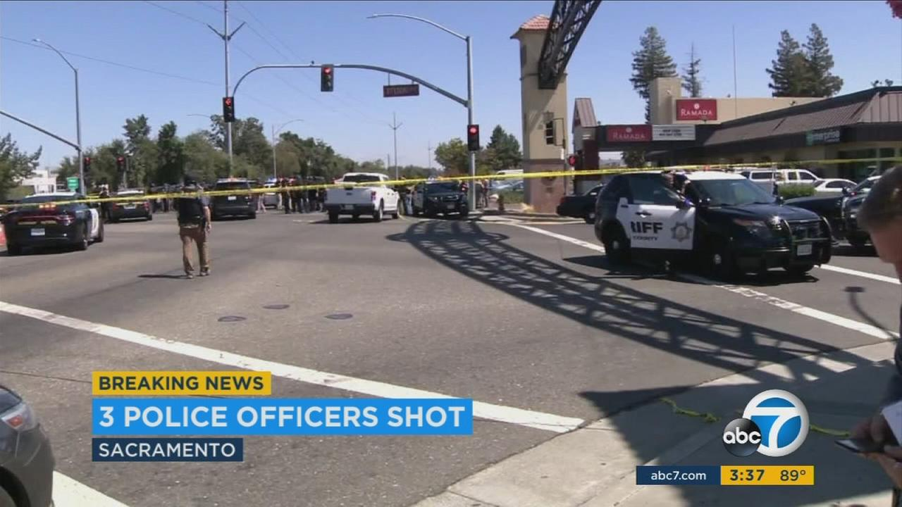 Authorities say three law enforcement officers and one suspect were shot during a vehicle theft investigation in Sacramento Wednesday.