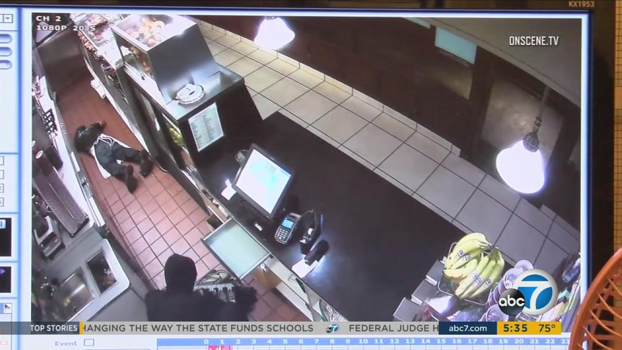 A doughnut shop robbery in Fountain Valley was captured on surveillance video early Thursday, Aug. 31, 2017, authorities said.