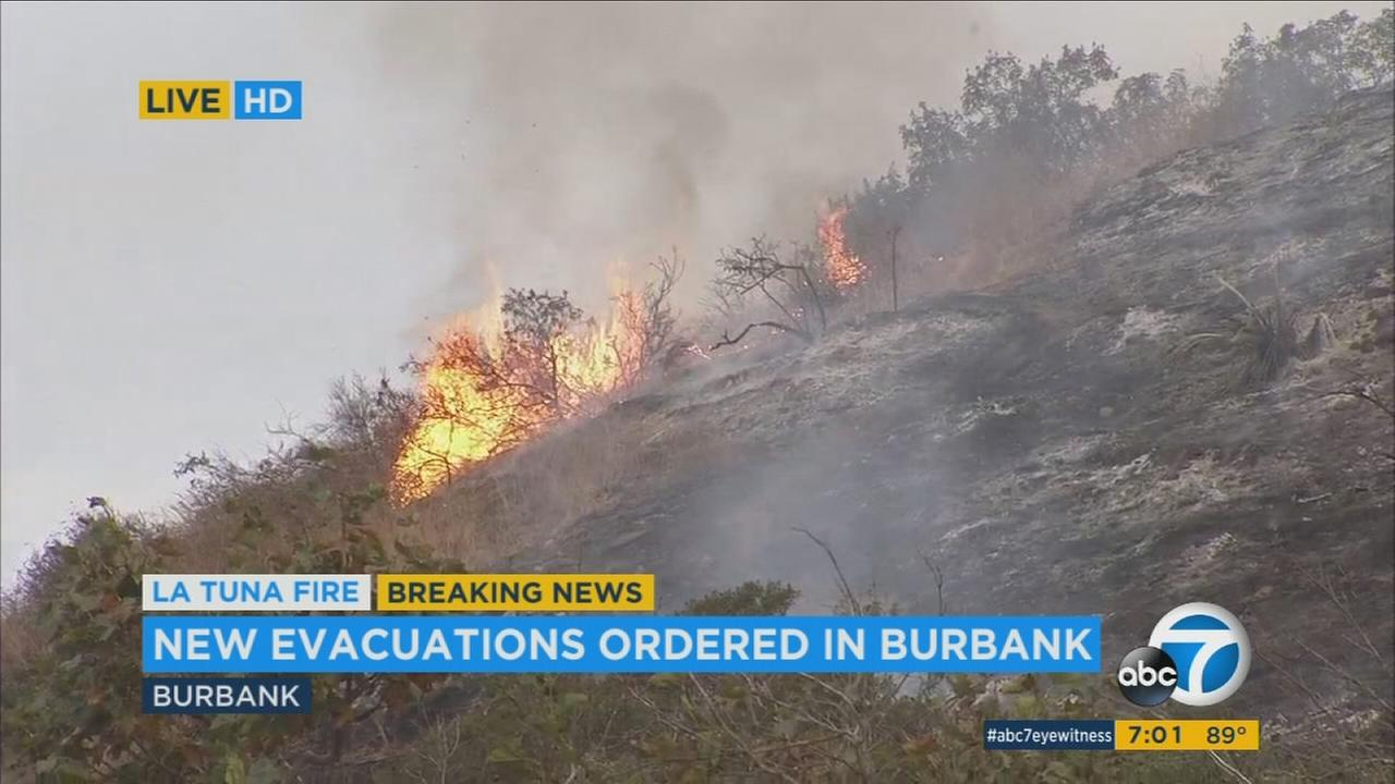 The La Tuna Fire burns near Burbank communities, prompting evacuations in the area on Sunday, Sept. 3, 2017.