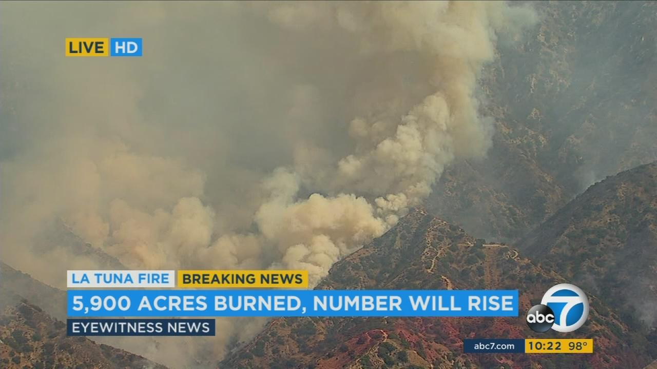 Nearly 5,900 acres have burned in the La Tuna Fire near the Sunland-Tujunga area on Sunday, Sept. 3, 2017.