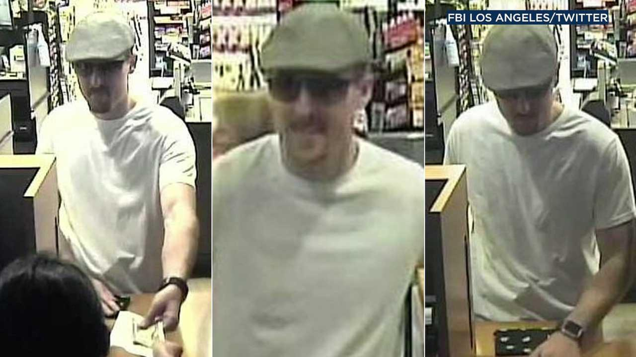 A suspected bank robber is seen in surveillance images provided by the FBI.