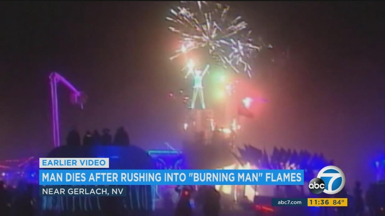 The mother of a man who died after plunging into a massive fire at the Burning Man festival says he was attending the festival in Nevada for the first time.