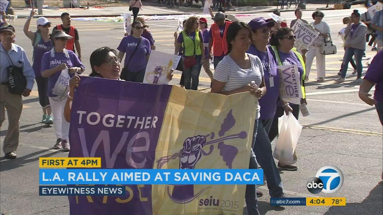 Supporters of the Deferred Action for Childhood Arrivals program held a rally in downtown L.A. Monday after word that President Donald Trump will soon end DACA.