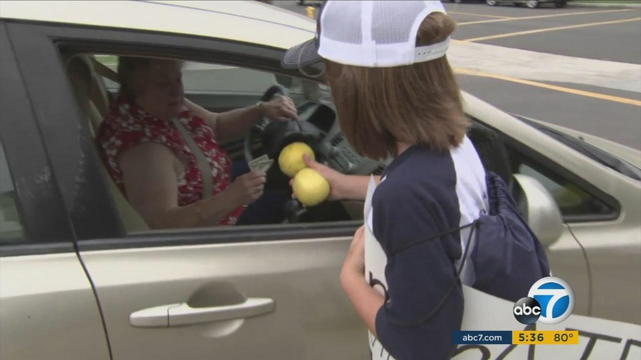 Abby, 8, gives a woman two lemons that were sold in an effort to raise money for Hurricane Harvey victims.