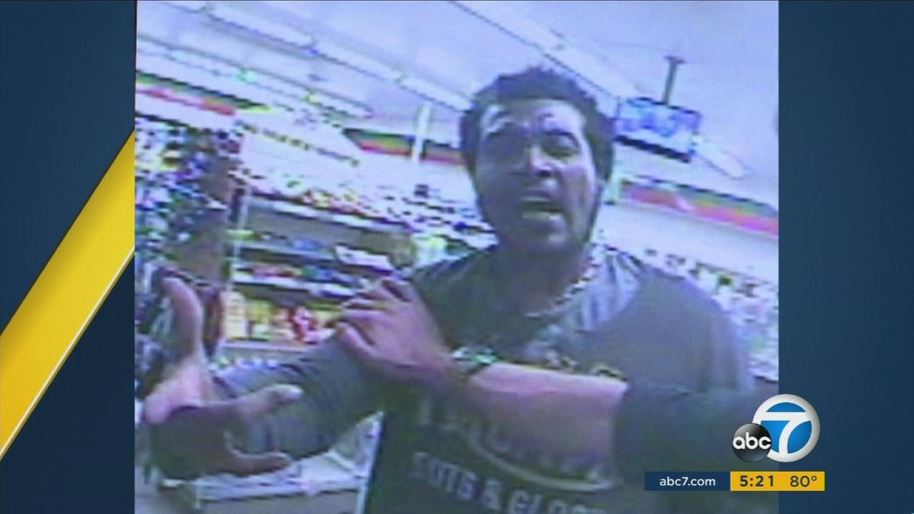 Kisu Brady Brown, a man identified as a suspect who attacked another man with an ax outside of a West Hollywood 7-Eleven, is shown in surveillance video.