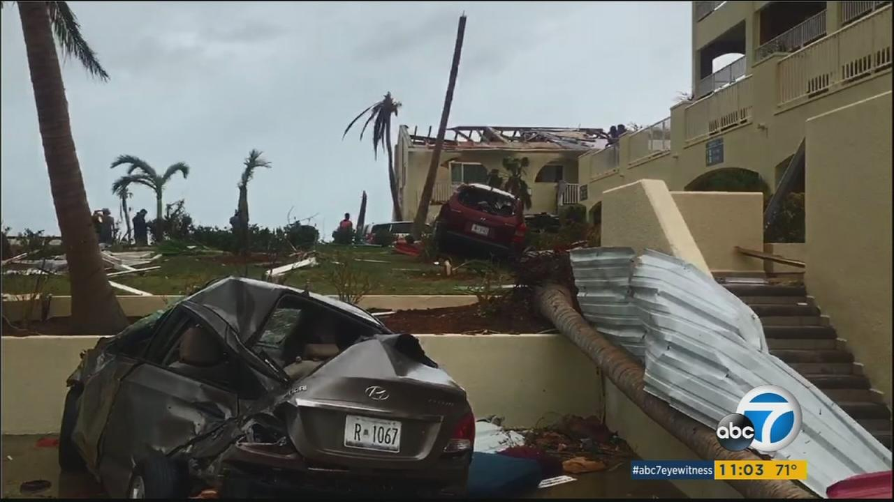 Devastated Caribbea island areas are shown in footage from witnesses.