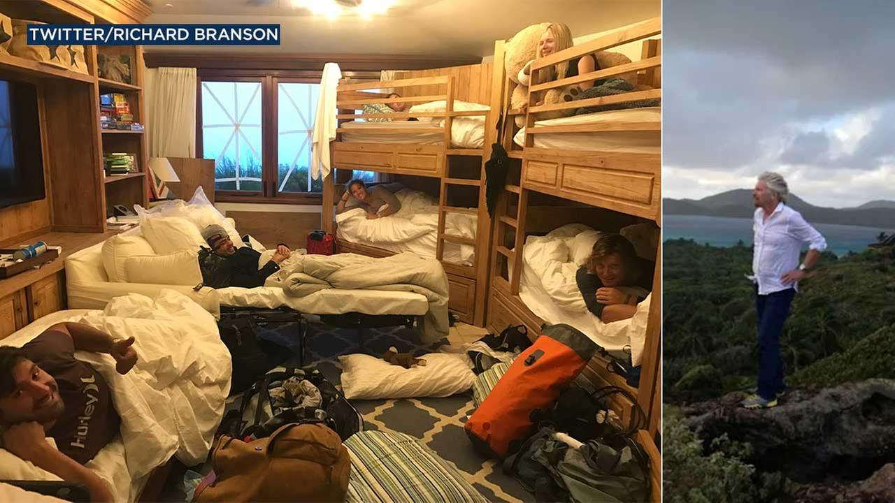 Richard Branson posted these photos to his Twitter account as his private island was in the path of Hurricane Irma.