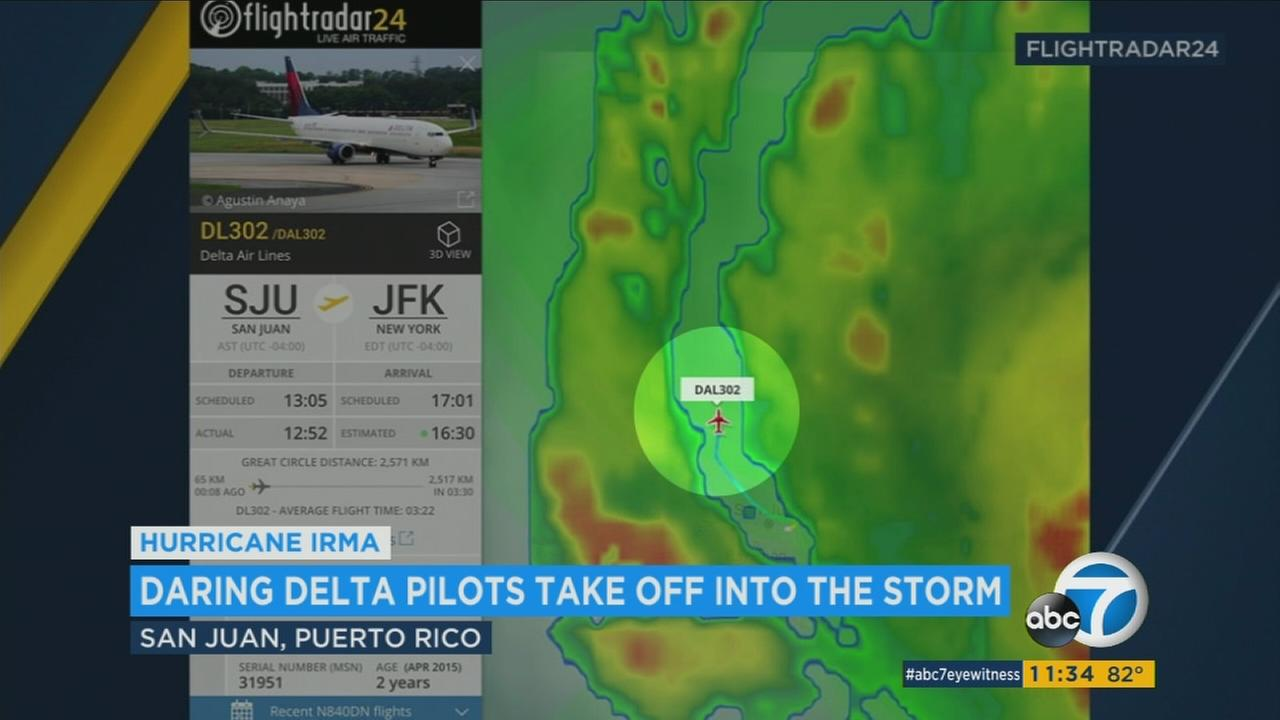 A Delta Airlines flight is shown flying through the outer bands of Hurricane Irma as it left Puerto Rico and headed for New York City.
