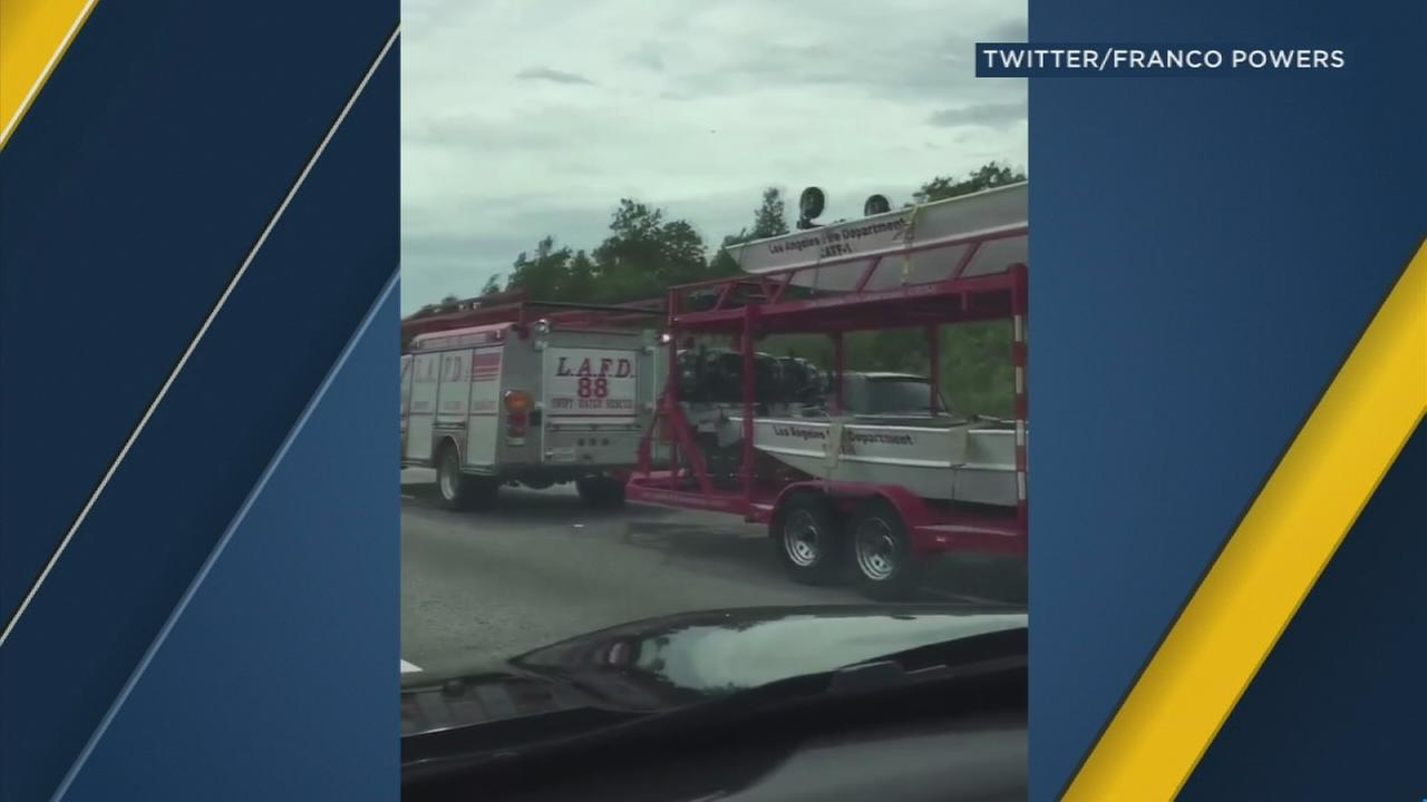 A viral video published Saturday shows a Los Angeles Fire Department truck traveling southbound on the Florida Turnpike as firefighters prepare to assist with the response to Hurricane Irma.