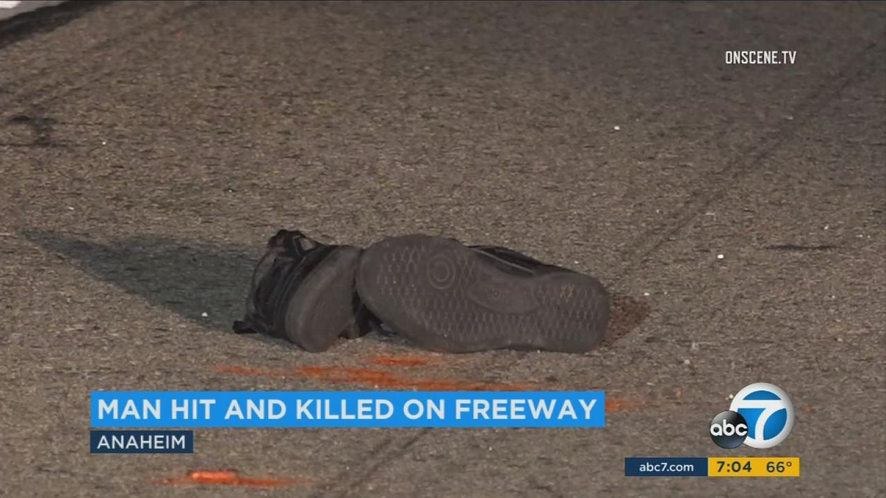 Shoes at the scene of a fatal crash in Anaheim early Sunday, Sept. 10, 2017.