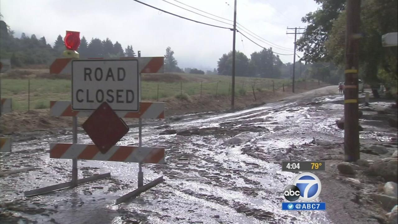 Roads were closed after mudslides and flash-flooding in the San Bernardino mountain communities on Monday, Aug. 4, 2014.