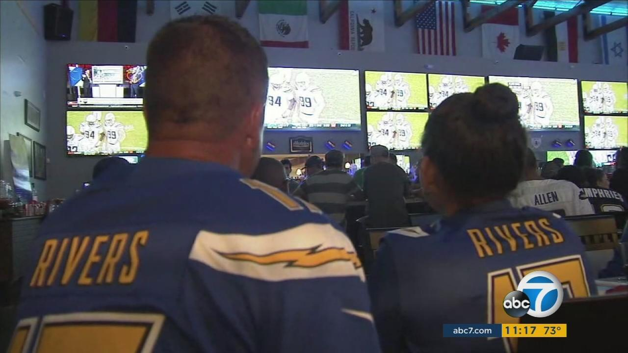 Los Angeles Chargers fans wore jerseys and watched the season opener at a bar in Santa Fe Springs on Monday, Sept. 11, 2017.