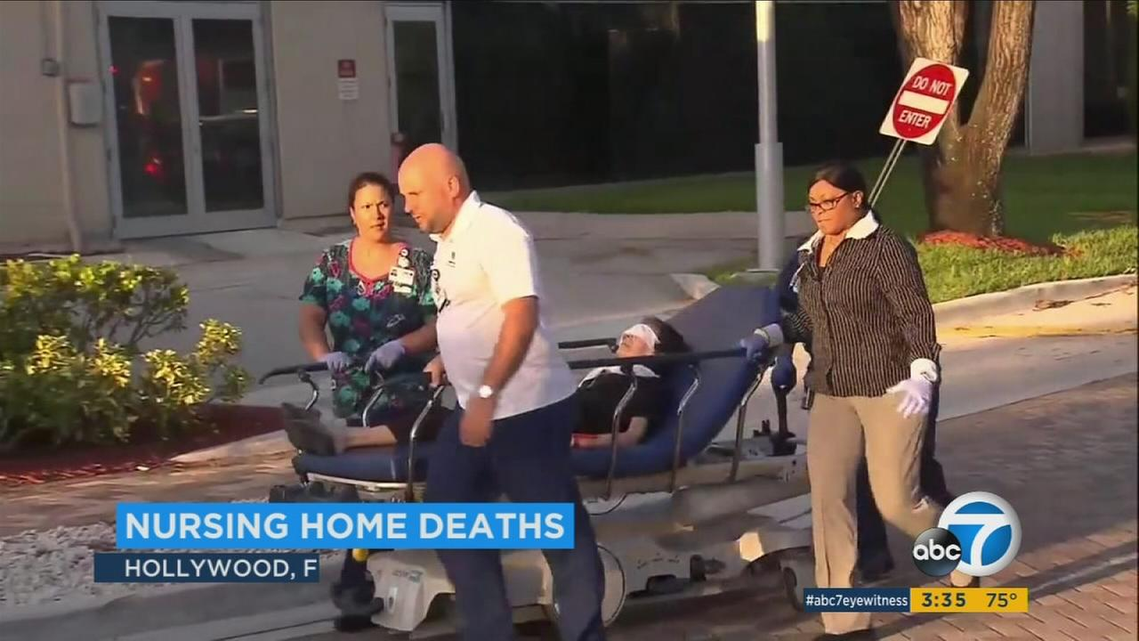 Eight patients at a sweltering Hollywood nursing home died in Hurricane Irmas aftermath, authorities said Wednesday, as people confronted a multitude of new hazards in the storms wake.