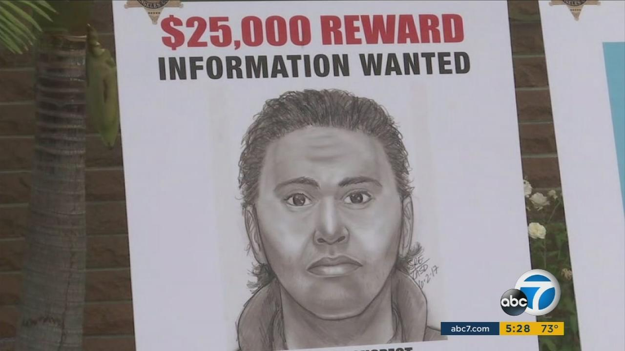 An updated sketch of a man suspected of robbing and beating a Korean War veteran, who later died, is shown during a press conference in Carson.