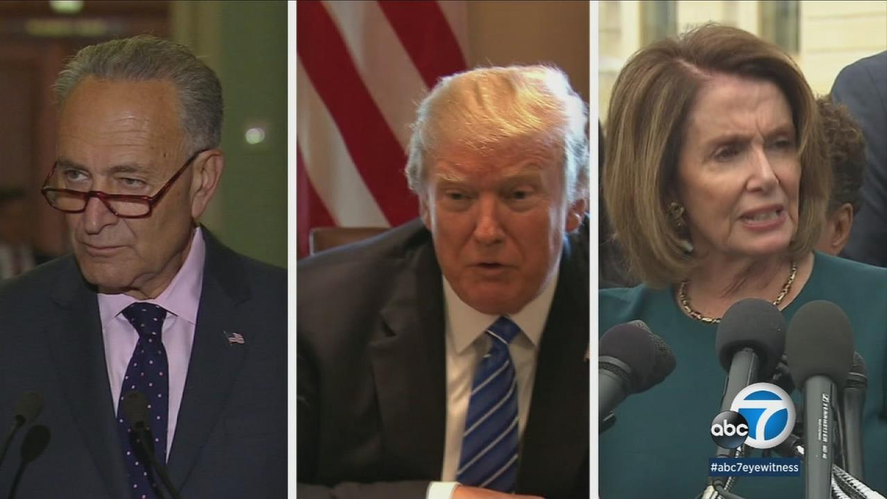 Sen. Chuck Schumer, President Donald Trump and Rep. Nancy Pelosi are shown in photos.