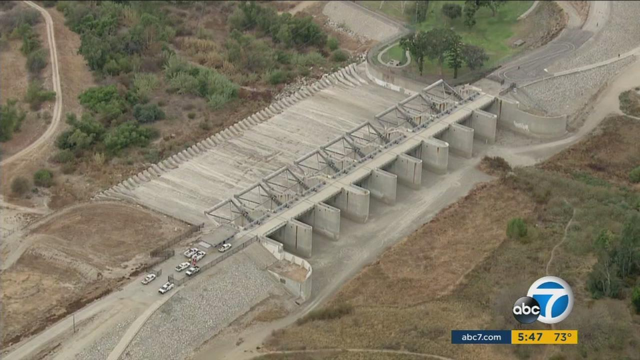 The Whittier Narrows Dam is shown in a photo captured by AIR7 HD.