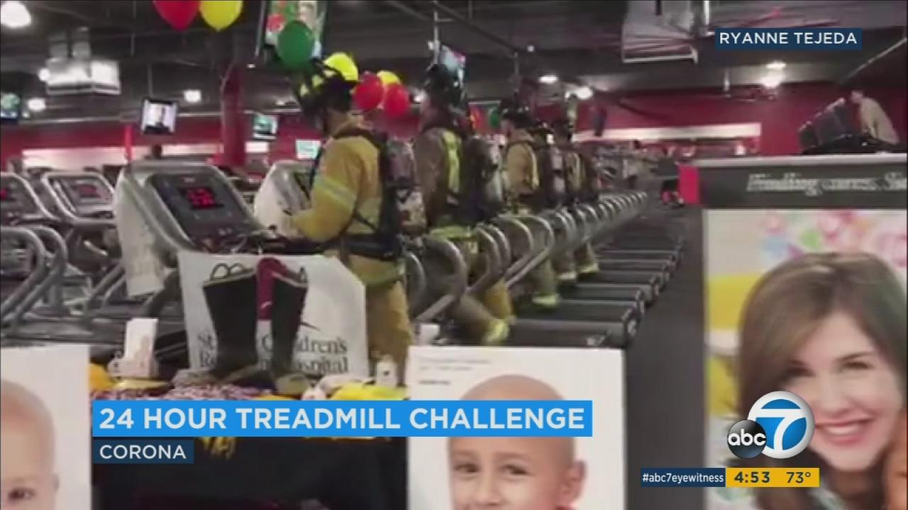 Corona firefighters are logging 24 hours on the treadmill in full gear to raise funds for St. Judes fight against cancer.