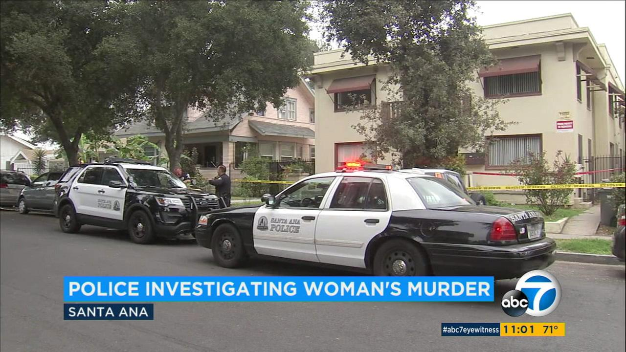 An investigation is underway on Monday, Sept. 18, 2017, after a woman was found dead in a Santa Ana apartment.