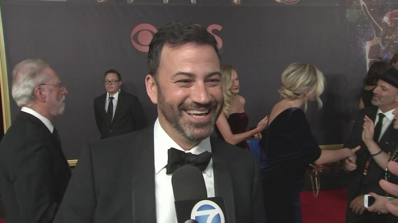 Jimmy Kimmel talks to George Pennacchio on the red carpet at the 2017 Emmy Awards on Sunday, Sept. 17, 2017.