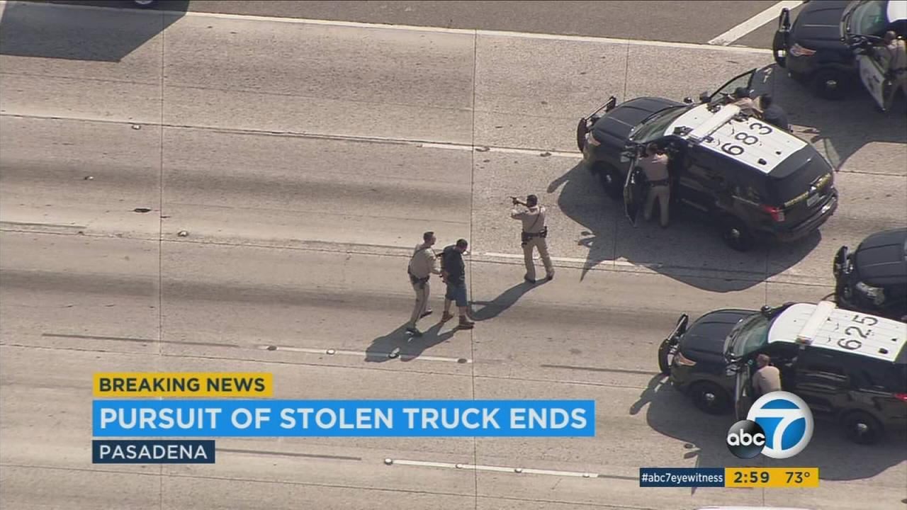 A suspect driving an allegedly stolen vehicle hauling a trailer led deputies on an hourslong chase through San Bernardino and Los Angeles counties on Monday.