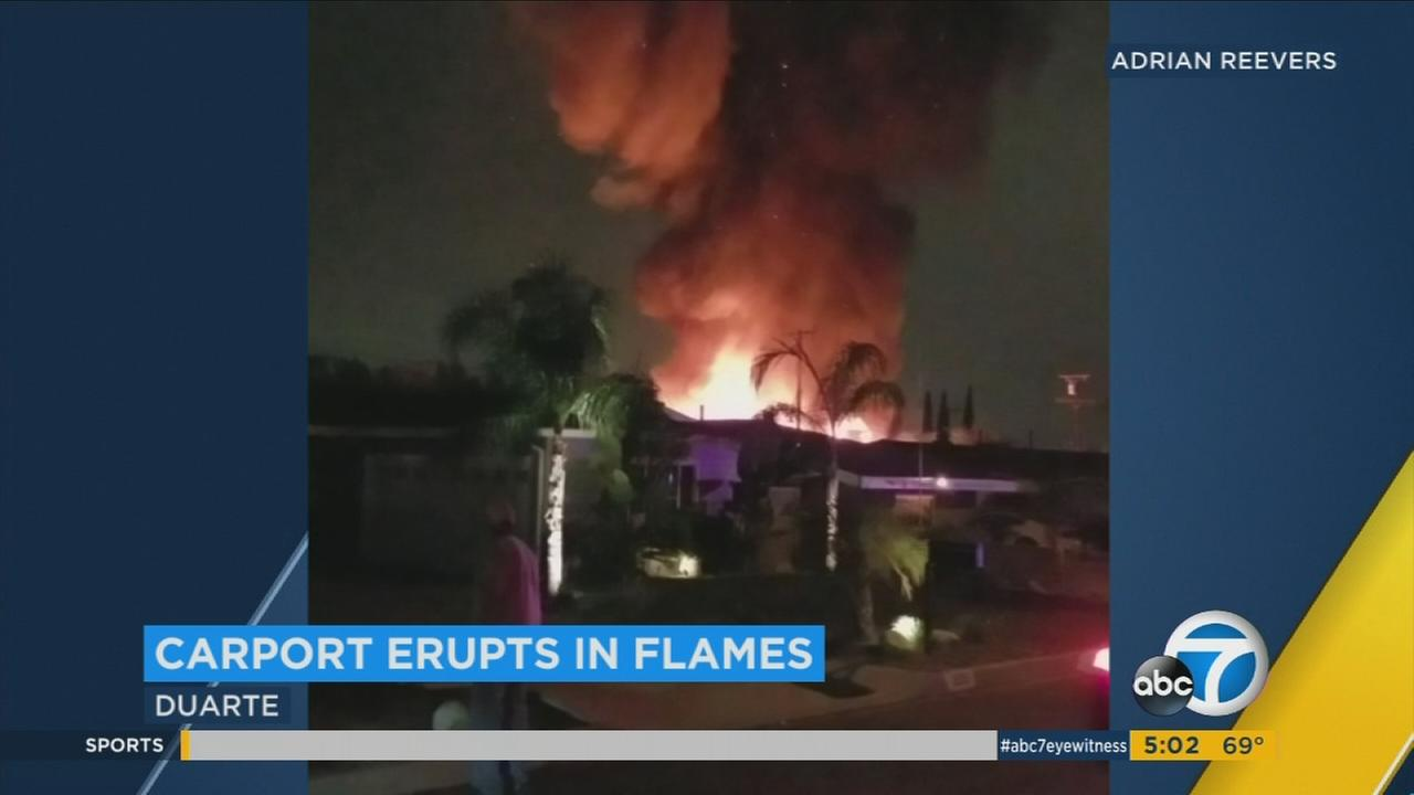 Video captures a carport fire in Duarte on Monday, Sept. 19, 2017.