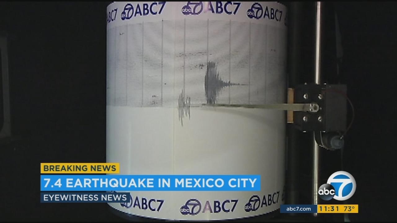 The ABC7 quake cam captures a massive earthquake that struck near Puebla, Mexico on Tuesday, Sept. 19, 2017.