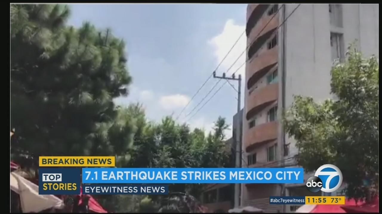 Video captures a massive earthquake that struck near Puebla, Mexico on Tuesday, Sept. 19, 2017.