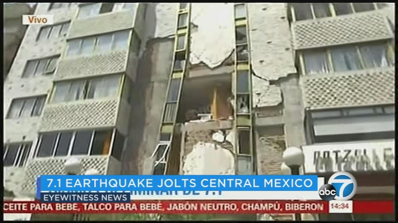 Footage shows a damaged building after a 7.1 earthquake struck near Mexico City on Tuesday, Sept. 19, 2017.