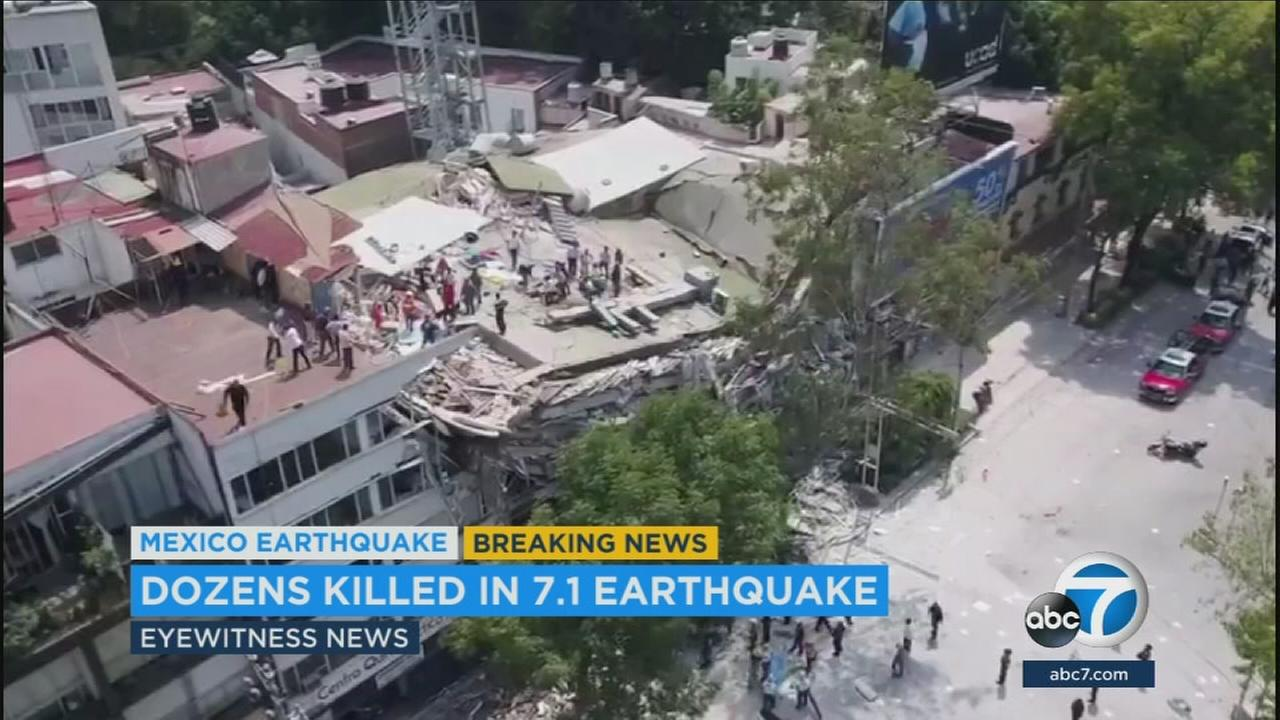 A collapsed building is shown in a city in Mexico after a 7.1-magnitude earthquake struck the area.