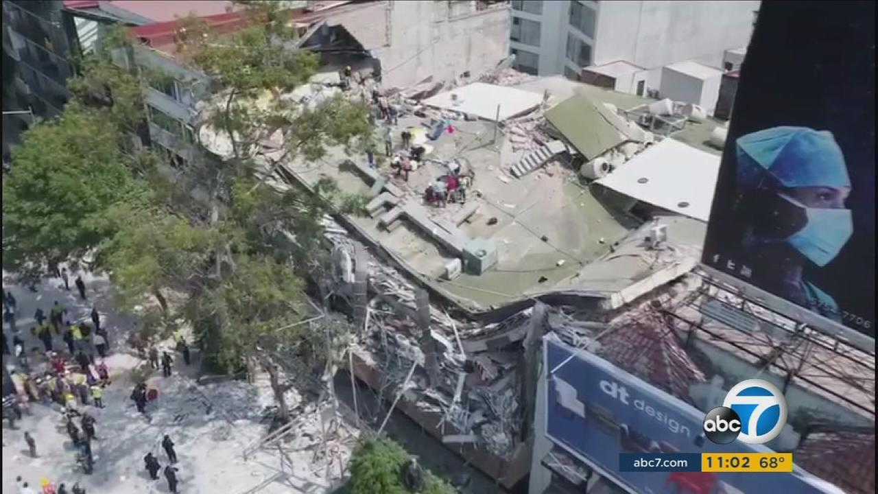 The rubble of a school is captured by drone footage in Mexico City after a massive earthquake struck the central region on Tuesday, Sept. 19, 2017.
